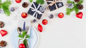 christmas dinner flat lay