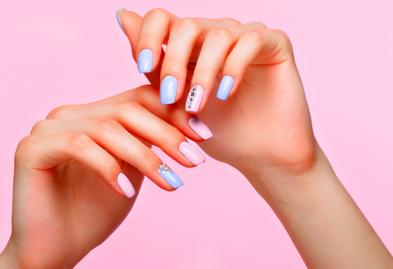 pink and blue manicure hands