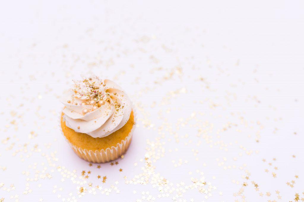 white glitter cupcake